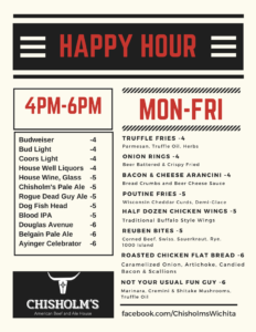 Chisholm's happy hour menu