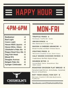 Chisholm's happy hour menu